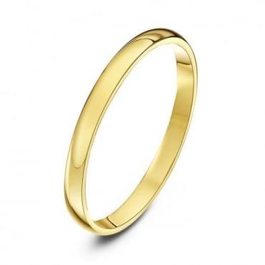9ct Yellow Gold Light D 2mm Wedding Ring