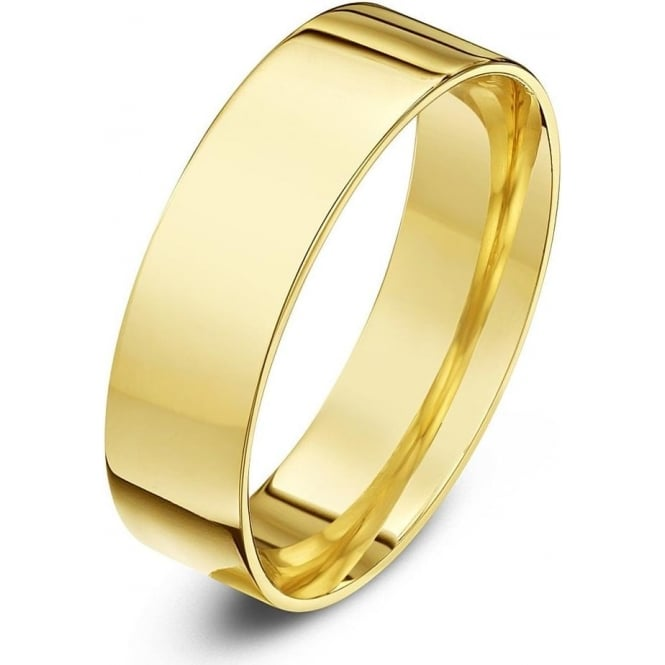Star Wedding Rings 9ct Yellow Gold Light Flat Court Shape 6mm Wedding Ring