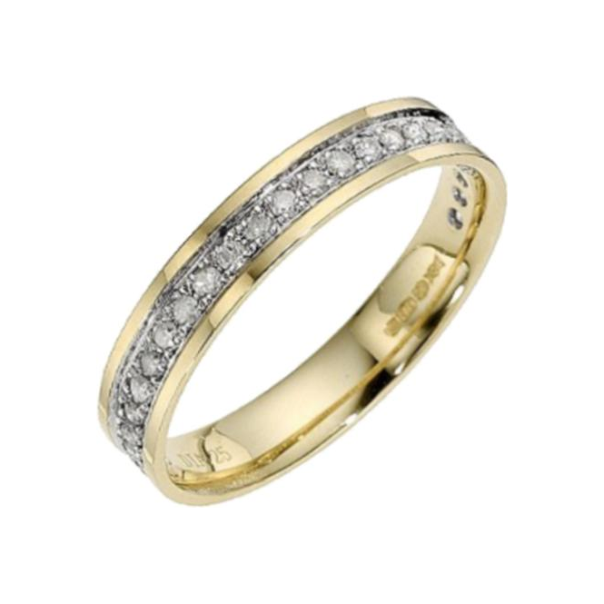Star Wedding Rings 9ct Yellow Gold with Rhodium Accent Diamond3.5mm Eternity Wedding Ring