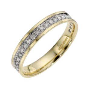 9ct Yellow Gold with Rhodium Accent Diamond3.5mm Eternity Wedding Ring