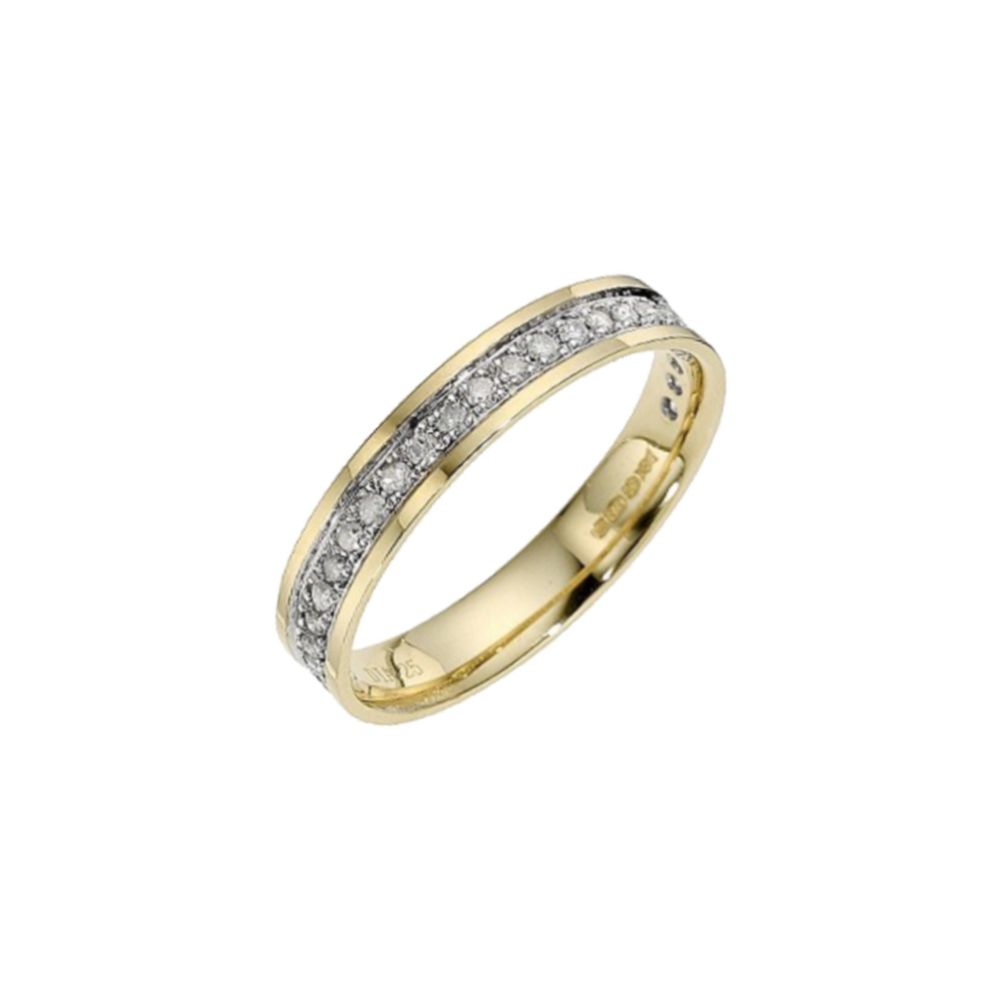 9kt Yellow Gold With Rhodium Accent Eternity Wedding Ring