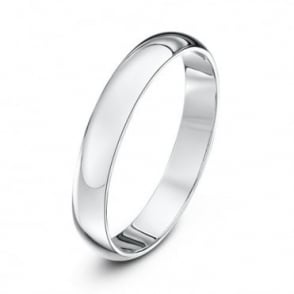 18ct White Gold Extra Heavy D 3mm Wedding Ring