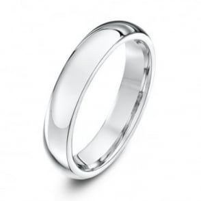 18ct White Gold Heavy Court Shape 4mm Wedding Ring