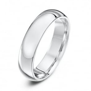 18ct White Gold Heavy Court Shape 5mm Wedding Ring