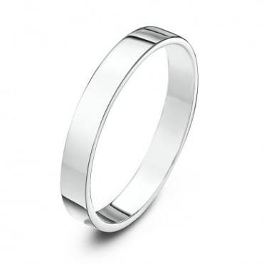 18ct White Gold Heavy Flat 3mm Wedding Ring