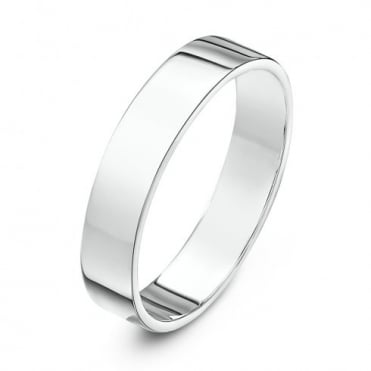 18ct White Gold Heavy Flat 4mm Wedding Ring