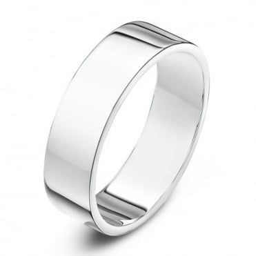 18ct White Gold Heavy Flat 5mm Wedding Ring