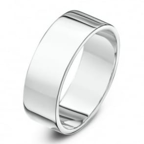 18ct White Gold Heavy Flat 6mm Wedding Ring