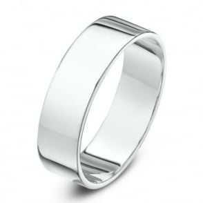 18ct White Gold Heavy Flat 7mm Wedding Ring