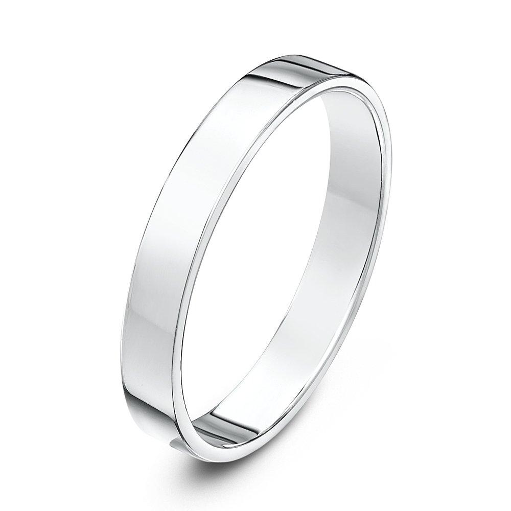 18kt white gold heavy flat court 3mm wedding ring