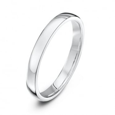 18ct White Gold Light Court Shape 2.5mm Wedding Ring