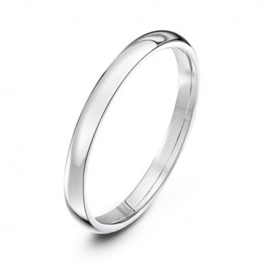 18ct White Gold Light Court Shape 2mm Wedding Ring
