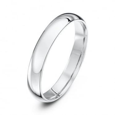 18ct White Gold Light Court Shape 3mm Wedding Ring