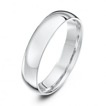18ct White Gold Light Court Shape 4mm Wedding Ring