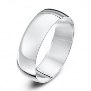 18ct White Gold Light D 6mm Wedding Ring
