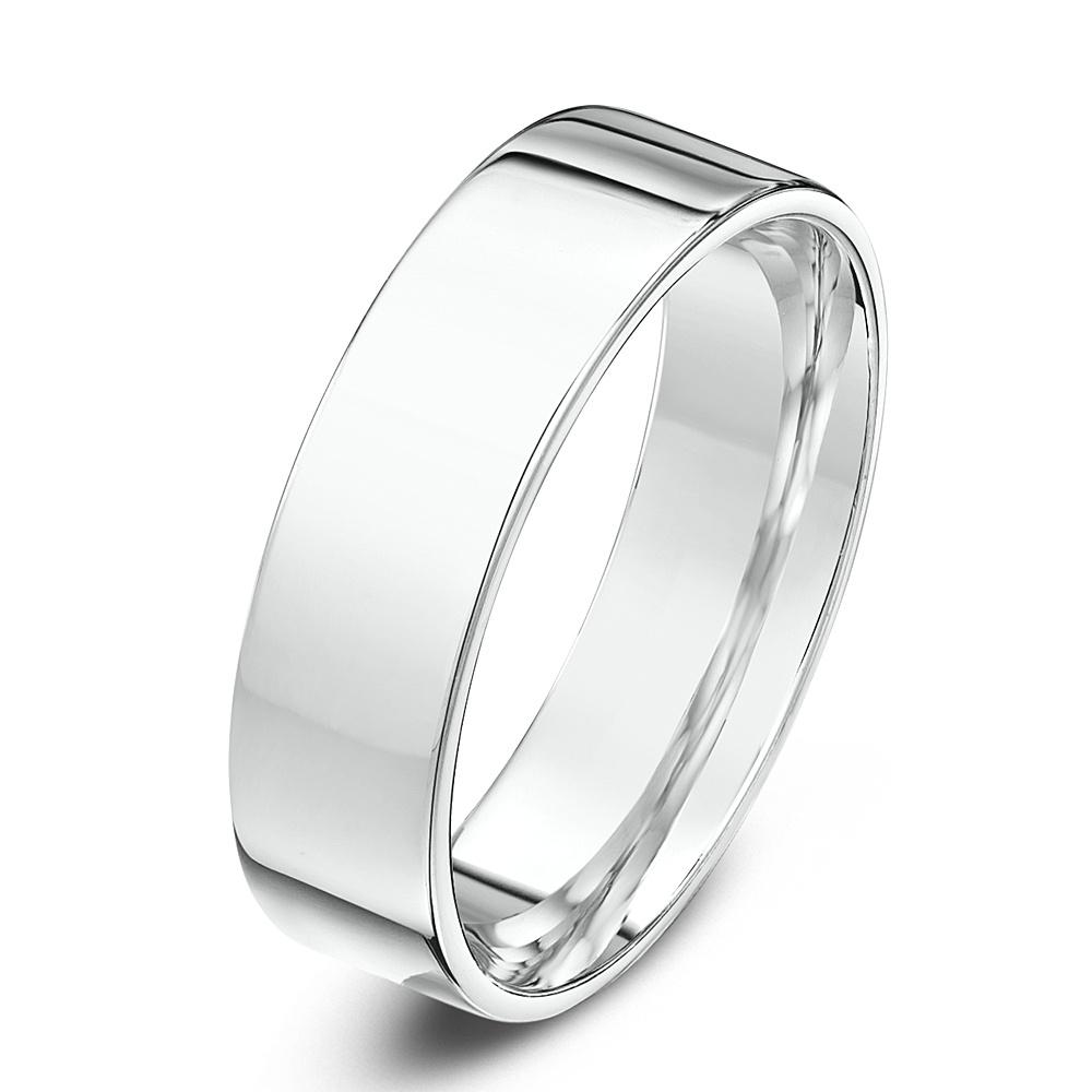 18kt White Gold Light Flat Court 5mm Wedding Ring