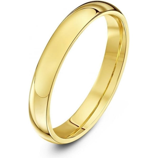 Star Wedding Rings 18ct Yellow Gold Heavy Court Shape 3mm Wedding Ring