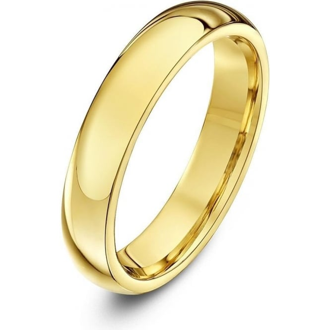 Star Wedding Rings 18ct Yellow Gold Heavy Court Shape 4mm Wedding Ring