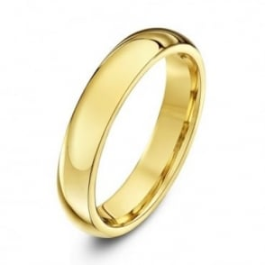 18ct Yellow Gold Heavy Court Shape 4mm Wedding Ring