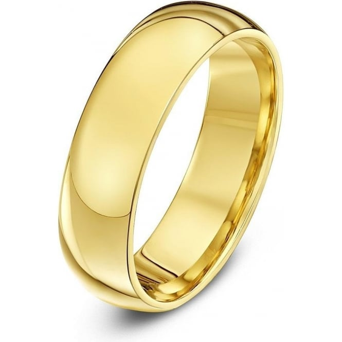 Star Wedding Rings 18ct Yellow Gold Heavy Court Shape 6mm Wedding Ring