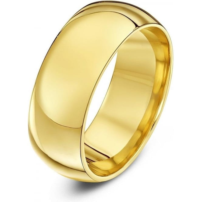 Star Wedding Rings 18ct Yellow Gold Heavy Court Shape 8mm Wedding Ring