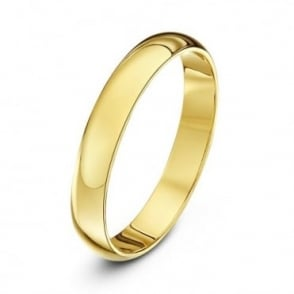 18ct Yellow Gold Heavy D 3mm Wedding Ring