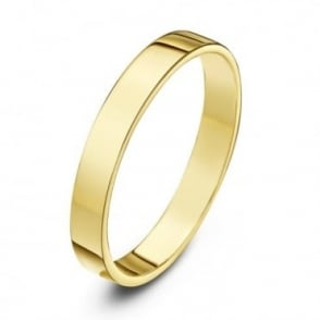 18ct Yellow Gold Heavy Flat 3mm Wedding Ring