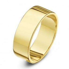 18ct Yellow Gold Heavy Flat 6mm Wedding Ring