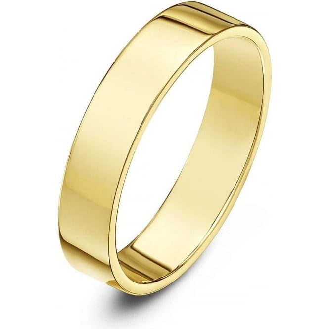 Star Wedding Rings 18ct Yellow Gold Heavy Flat Court Shape 4mm Wedding Ring