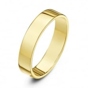 18ct Yellow Gold Heavy Flat Court Shape 4mm Wedding Ring