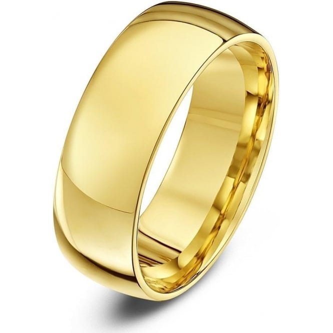 Star Wedding Rings 18ct Yellow Gold Light Court Shape 7mm Wedding Ring