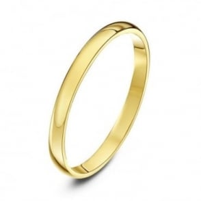 18ct Yellow Gold Light D 2mm Wedding Ring