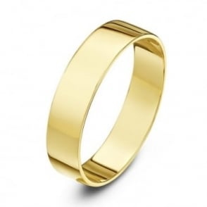 18ct Yellow Gold Light Flat 4mm Wedding Ring