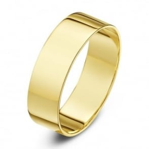 18ct Yellow Gold Light Flat 6mm Wedding Ring