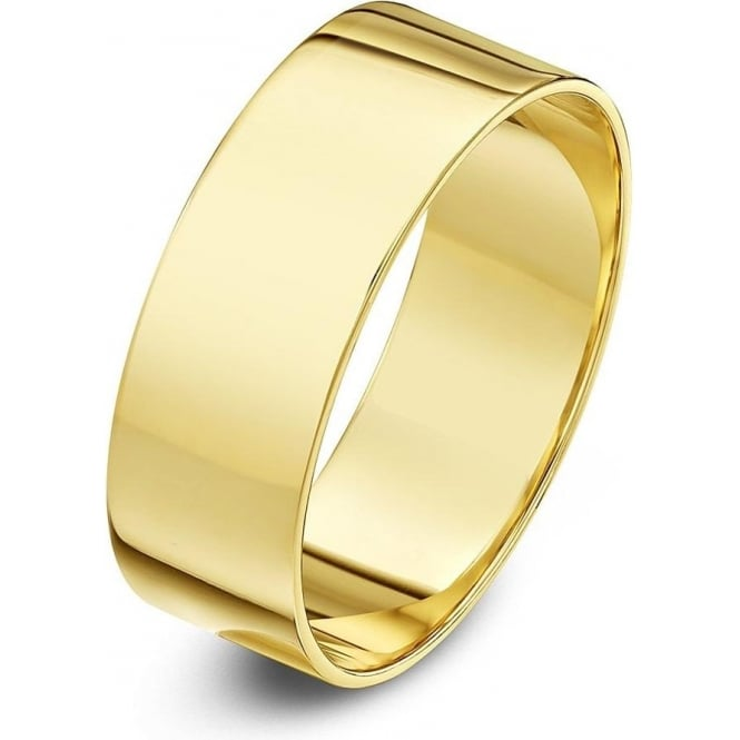 Star Wedding Rings 18ct Yellow Gold Light Flat 7mm Wedding Ring