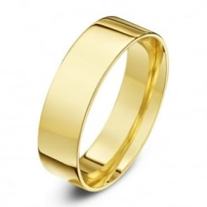 18ct Yellow Gold Light Flat Court Shape 6mm Wedding Ring