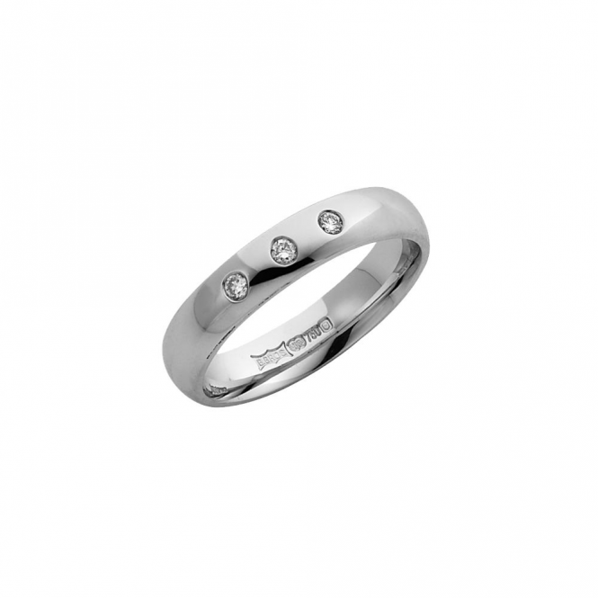 Star Wedding Rings 9ct White Gold Diamond 3mm Wedding Ring