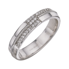 9ct White Gold Diamond 4mm Designed Ring