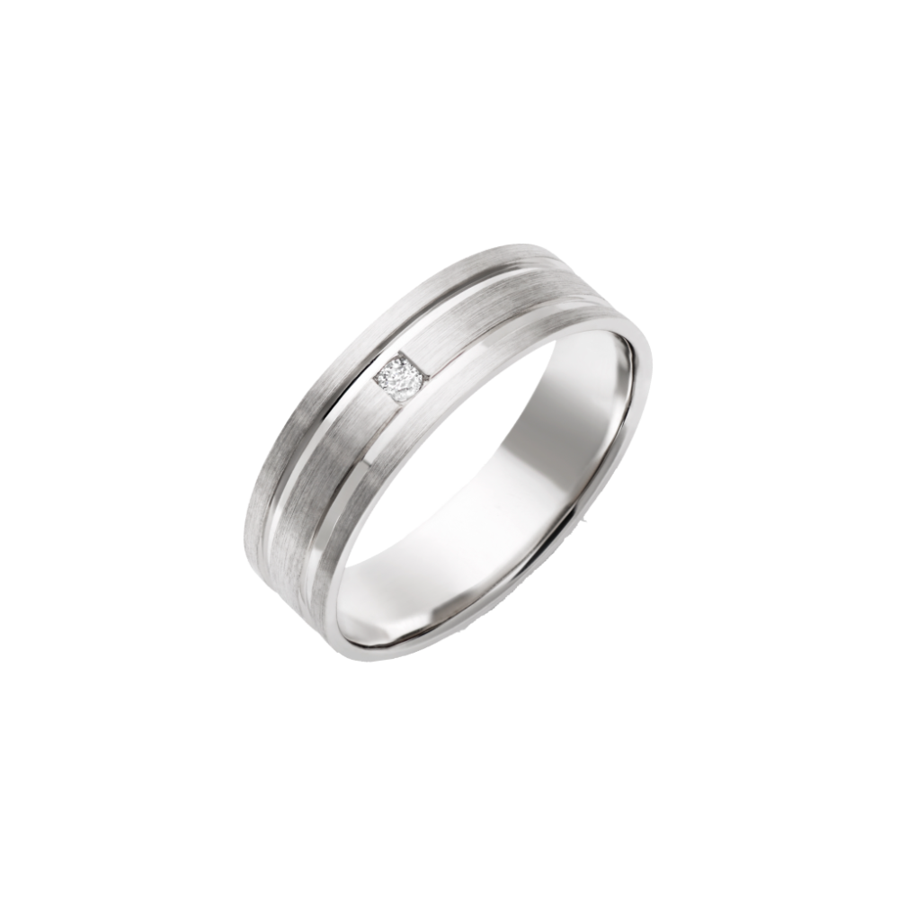 9kt white gold matt with polished grooves 6mm ring
