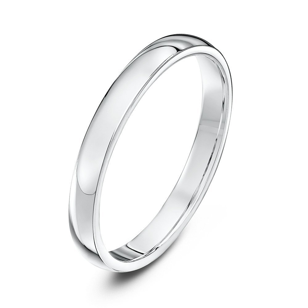 9kt white gold heavy court 2 5mm wedding ring