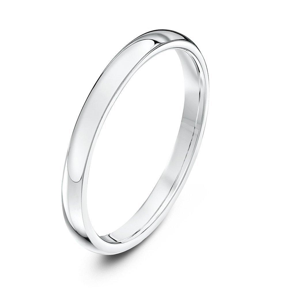 9kt white gold heavy court 2mm wedding ring