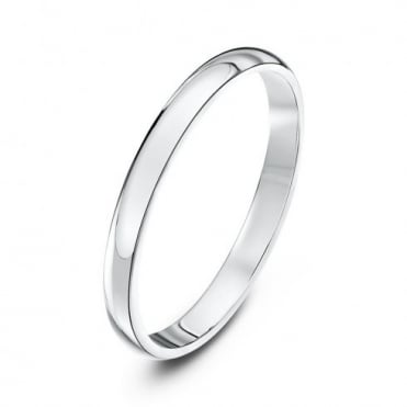 9ct White Gold Heavy D-Shape 2mm Wedding Ring