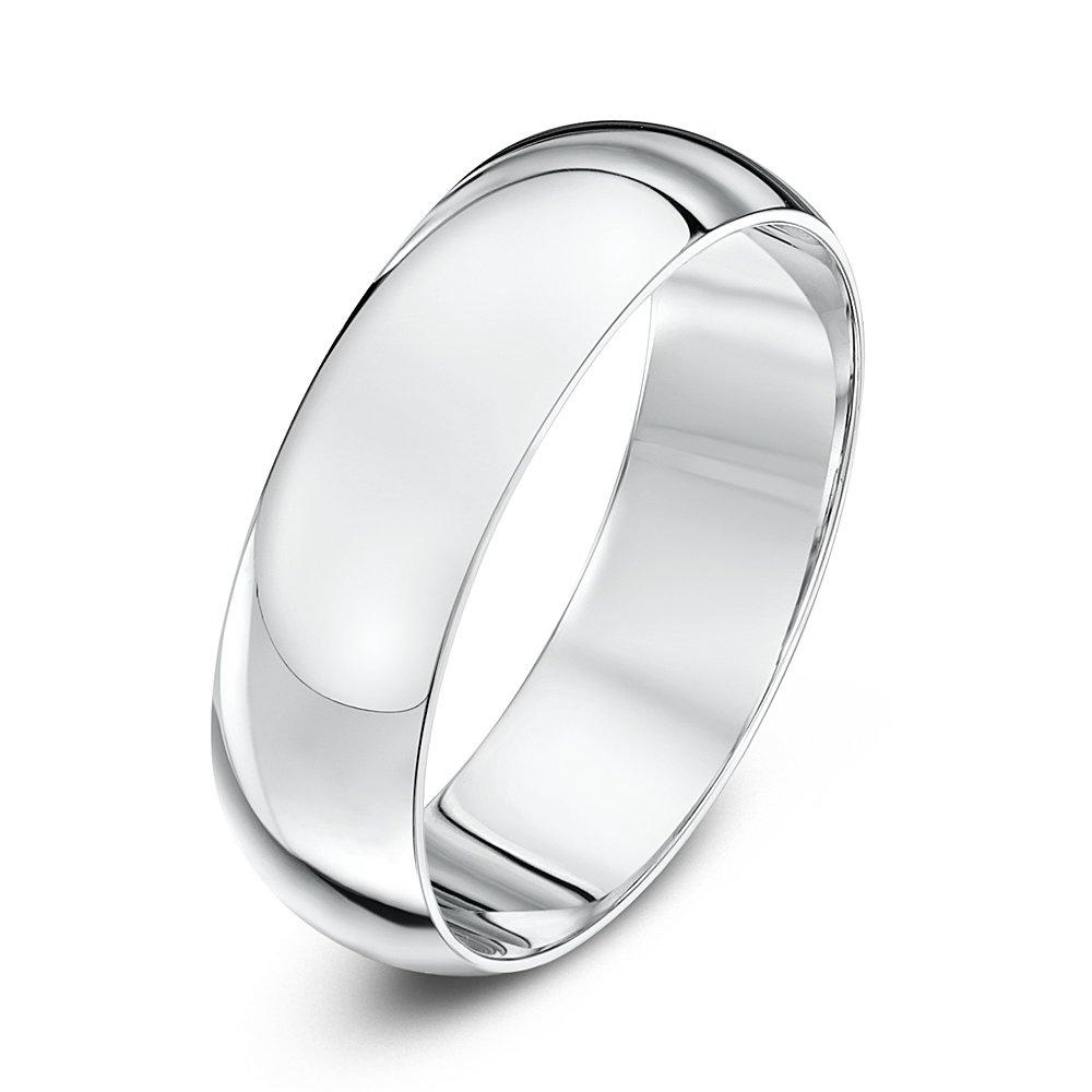9kt white gold heavy d 6mm wedding ring