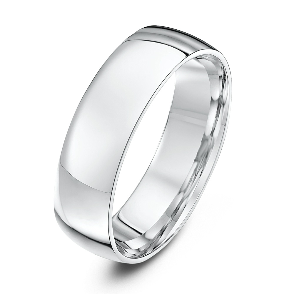 9ct White Gold Light Weight Court Shape 6mm Wedding Ring