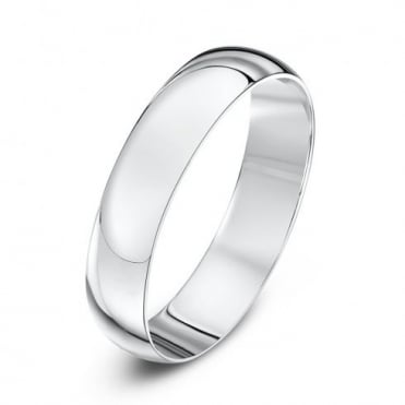 9ct White Gold Light D 4mm Wedding Ring
