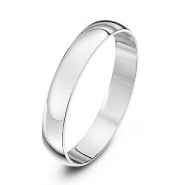 9ct White Gold Light D-Shape 3mm Wedding Ring
