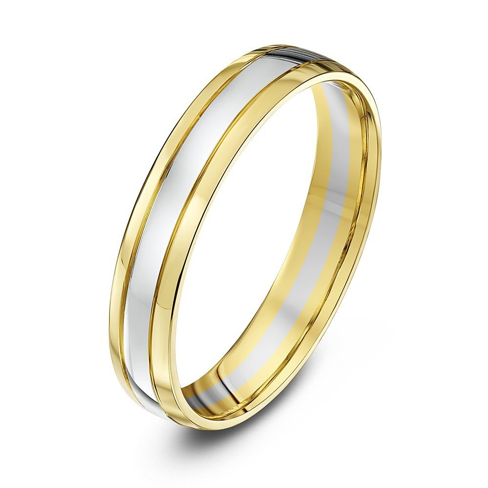 9kt white amp yellow gold court 4mm wedding ring