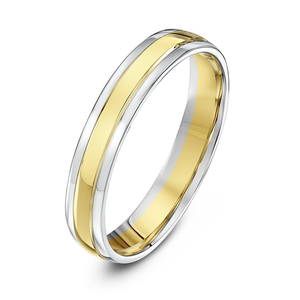 9kt white yellow gold court 4mm wedding ring. Black Bedroom Furniture Sets. Home Design Ideas