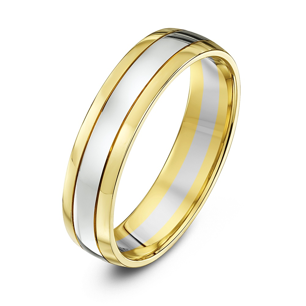 9kt white yellow gold court 5mm wedding ring