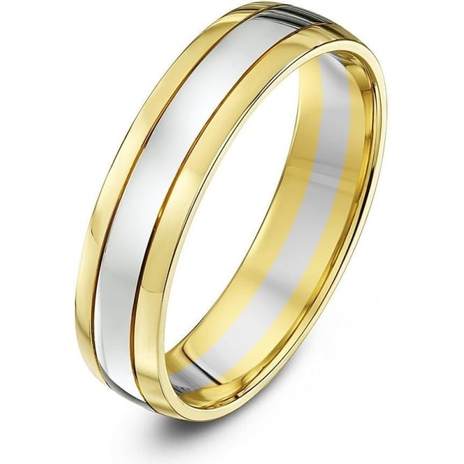 Star Wedding Rings 9ct White & Yellow Gold Court Shape 5mm Wedding Ring